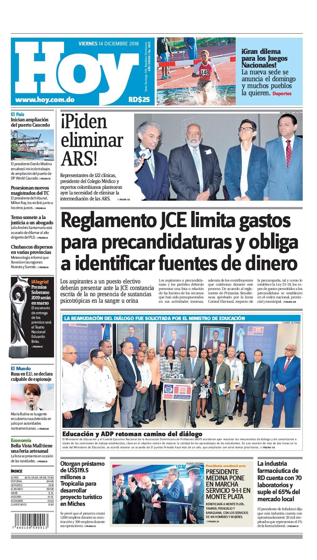 Portada Periódico Hoy, Viernes 14 de Diciembre 2018