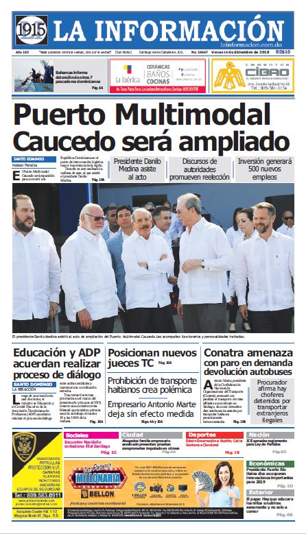 Portada Periódico La Información, Viernes 14 de Diciembre 2018