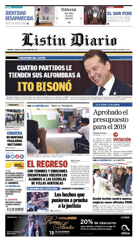 Portada Periódico Listín Diario, Jueves 13 de Diciembre 2018