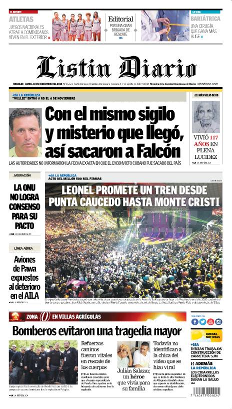Portada Periódico Listín Diario, Lunes 10 de Diciembre 2018