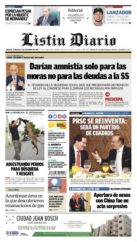 Portada Periódico Listín Diario, Miércoles 12 de Diciembre 2018