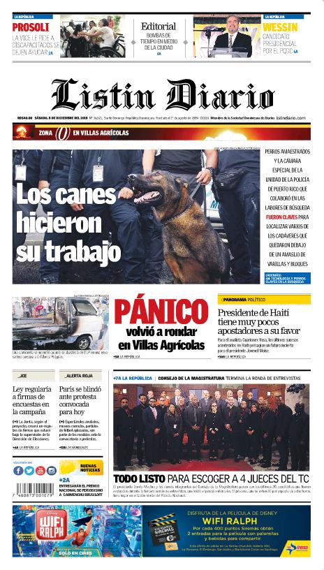 Portada Periódico Listín Diario, Sábado 08 de Diciembre 2018