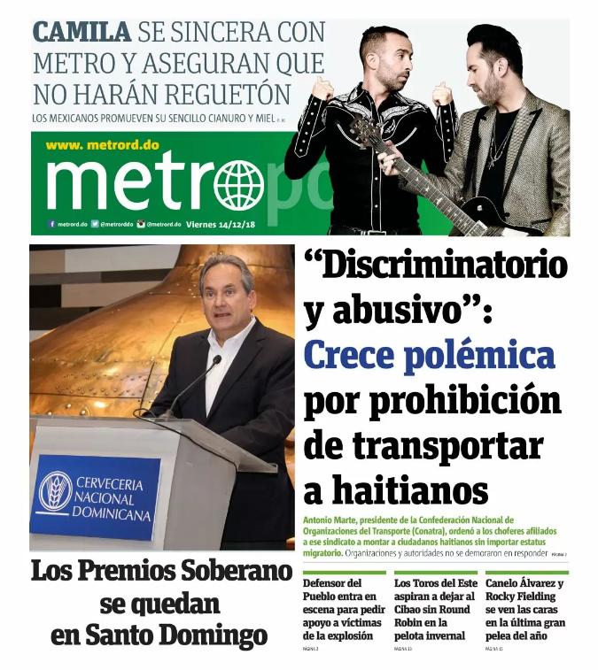 Portada Periódico Metro, Viernes 14 de Diciembre 2018