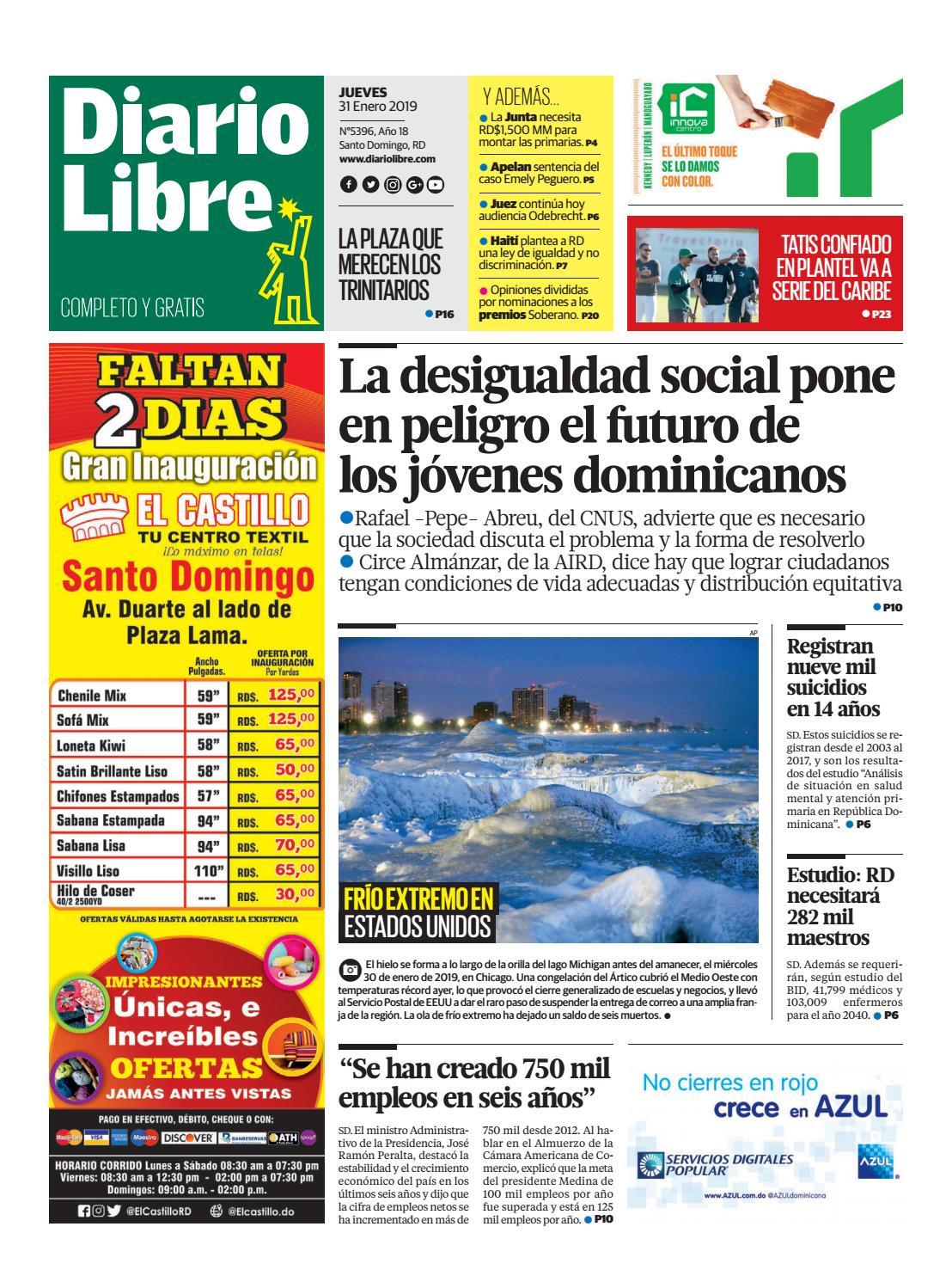 Portada Periódico Diario Libre, Jueves 31 de Enero 2019