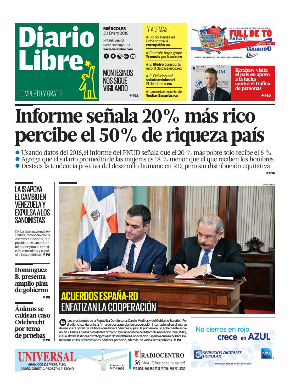 Portada Periódico Diario Libre, Miércoles 30 de Enero 2019