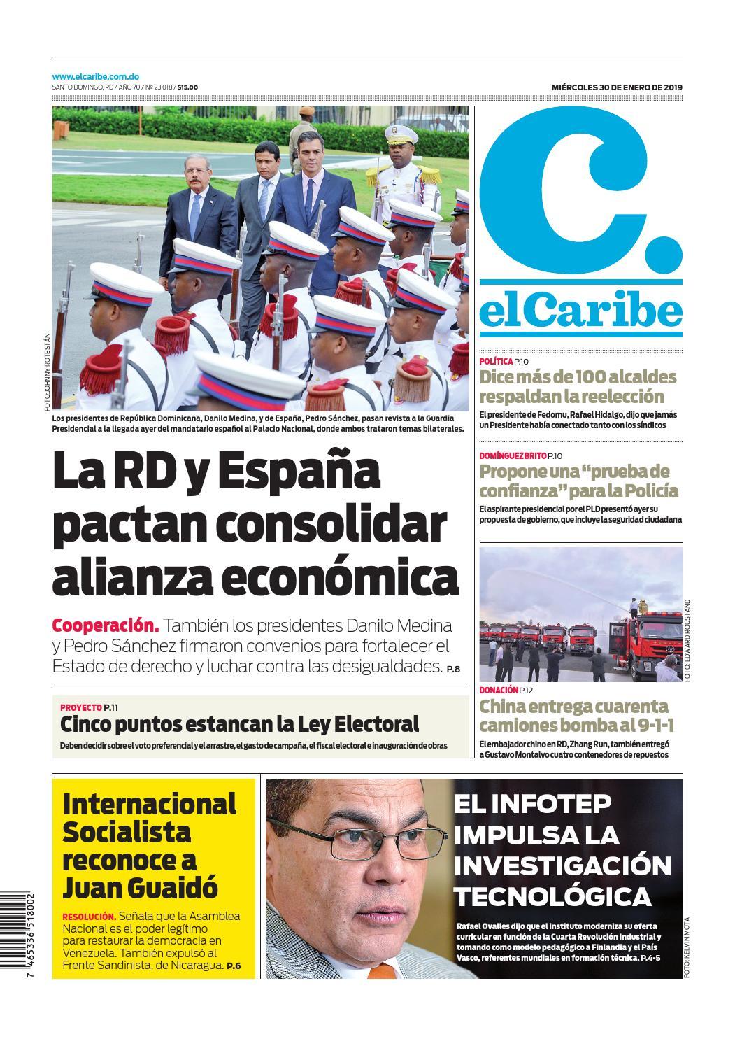 Portada Periódico El Caribe, Miércoles 30 de Enero 2019