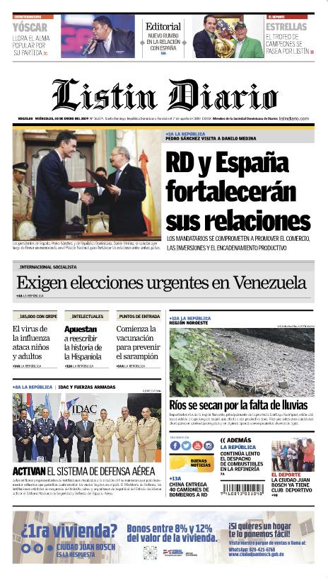 Portada Periódico Listín Diario, Miércoles 30 de Enero 2019
