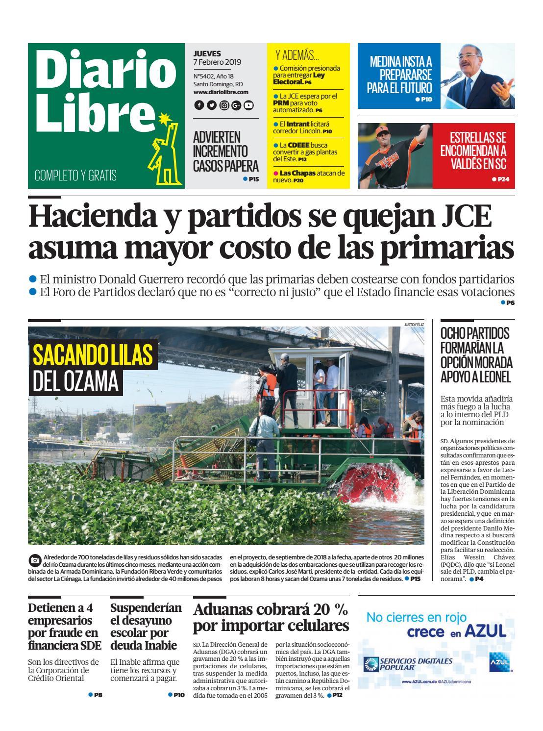 Portada Periódico Diario Libre, Jueves 07 de Febrero 2019