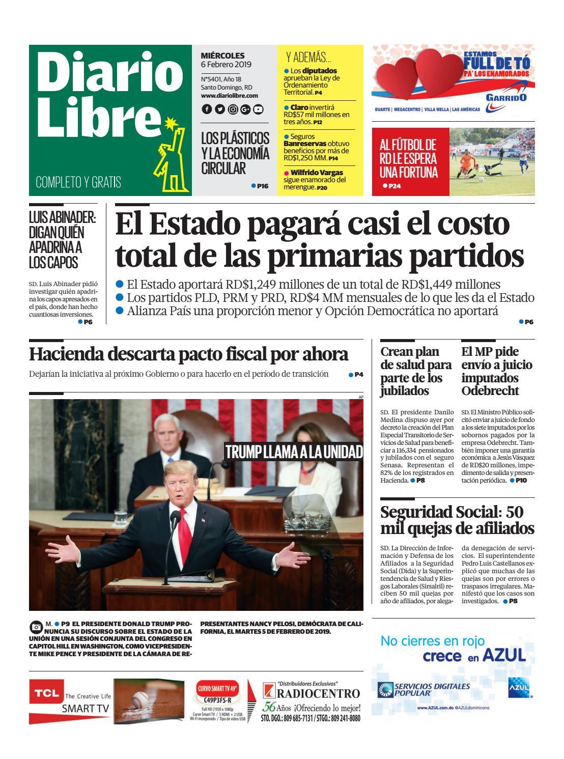 Portada Periódico Diario Libre, Miércoles 06 de Febrero 2019