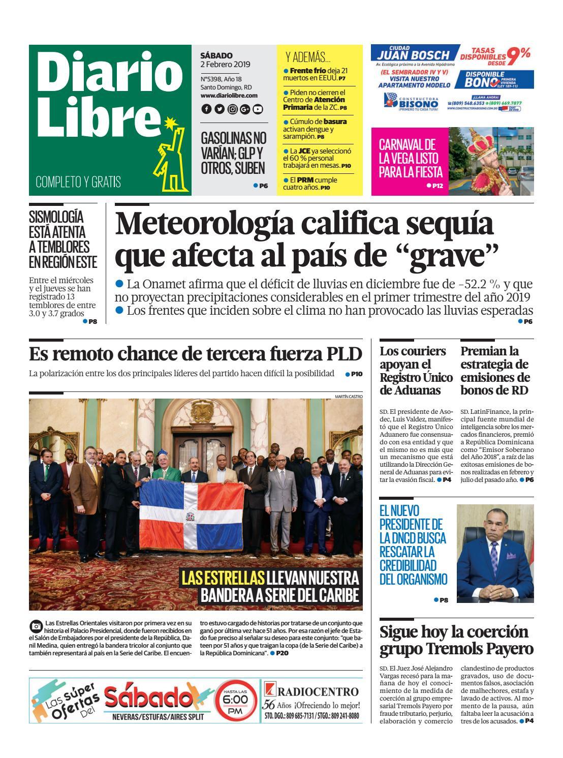 Portada Periódico Diario Libre, Sábado 02 de Febrero 2019