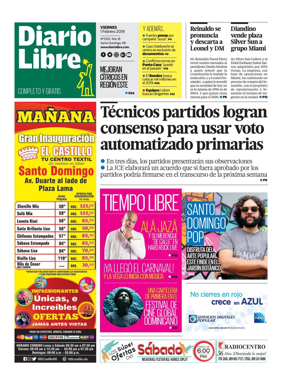 Portada Periódico Diario Libre, Viernes 01 de Febrero 2019