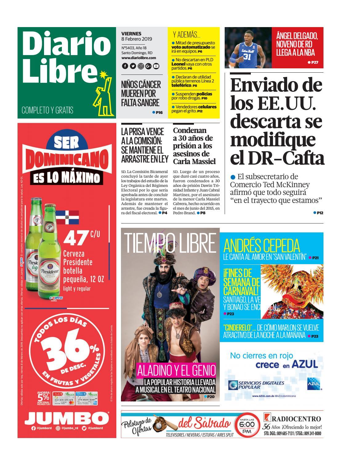 Portada Periódico Diario Libre, Viernes 08 de Febrero 2019