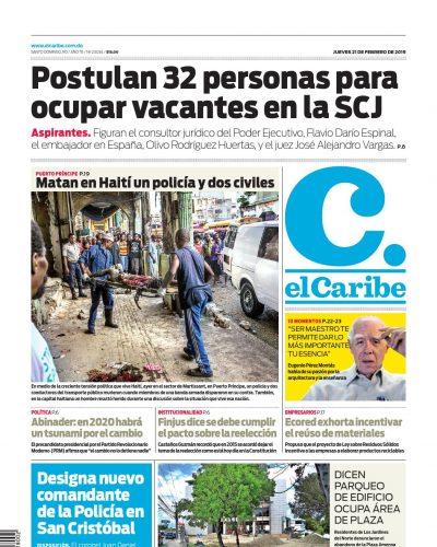 Portada Periódico El Caribe, Jueves 21 de Febrero 2019