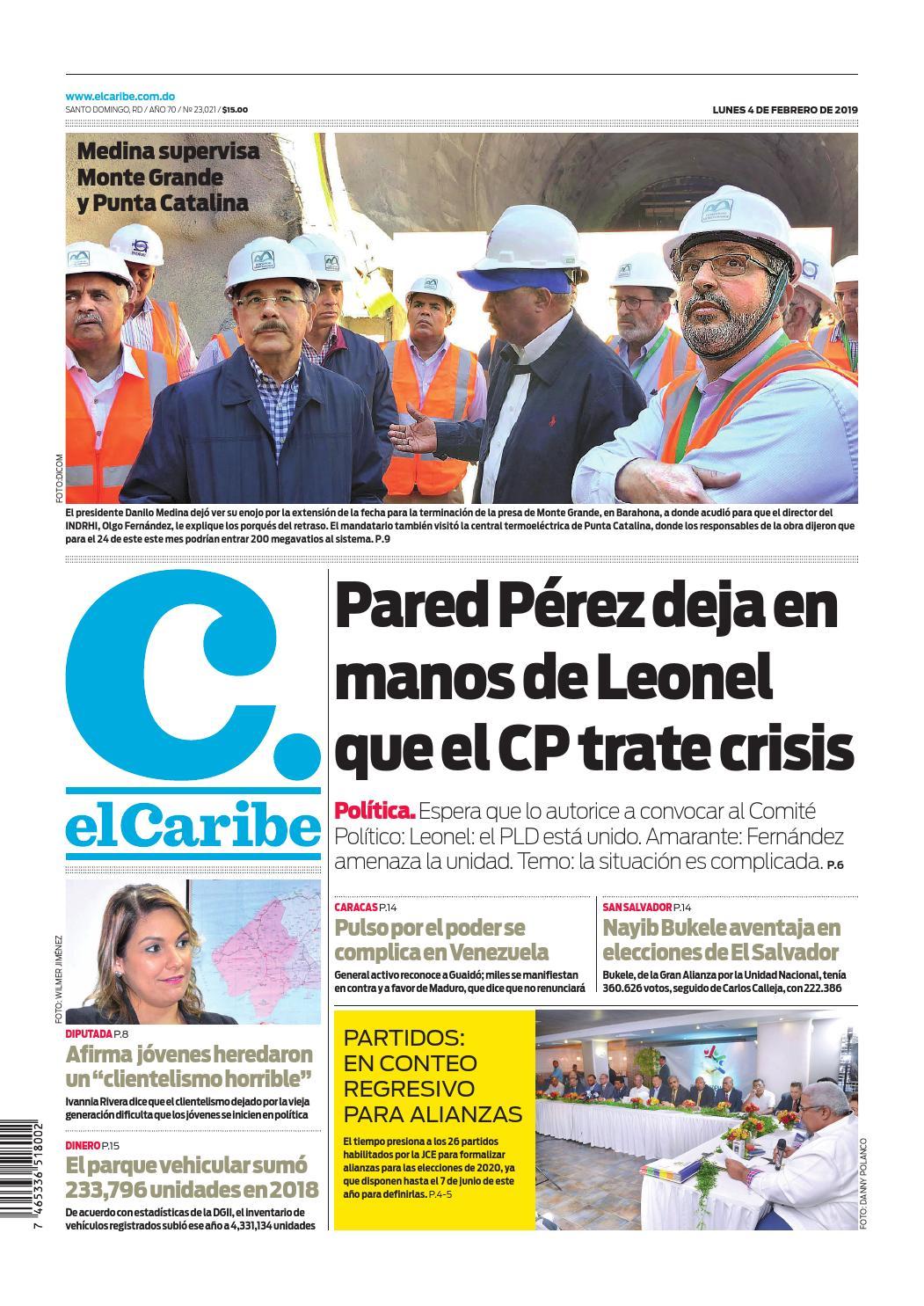 Portada Periódico El Caribe, Lunes 04 de Febrero 2019