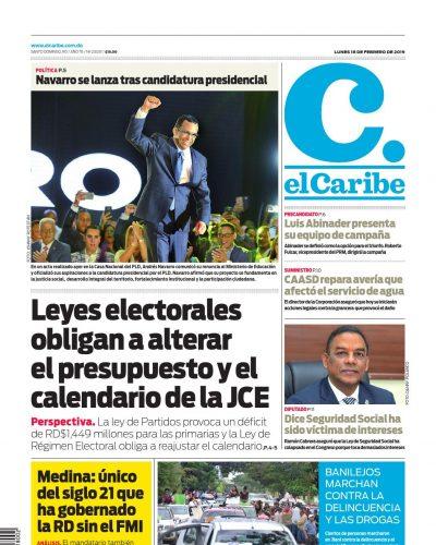 Portada Periódico El Caribe, Lunes 18 de Febrero 2019