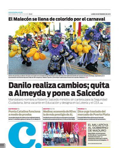 Portada Periódico El Caribe, Lunes 25 de Febrero 2019