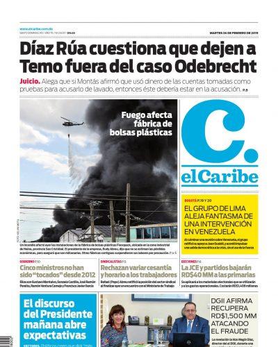 Portada Periódico El Caribe, Martes 26 de Febrero 2019