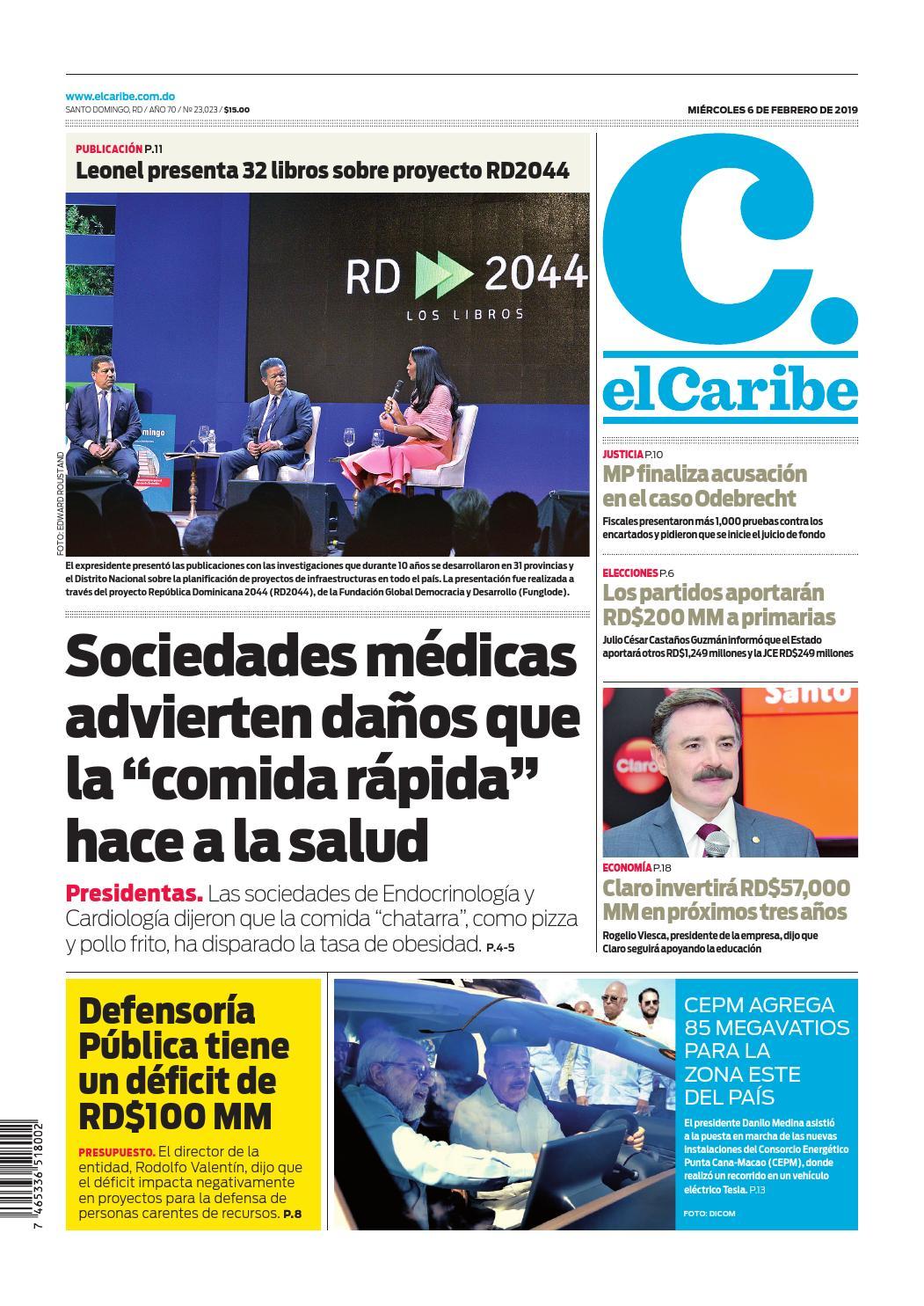 Portada Periódico El Caribe, Miércoles 06 de Febrero 2019