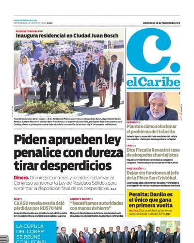 Portada Periódico El Caribe, Miércoles 20 de Febrero 2019