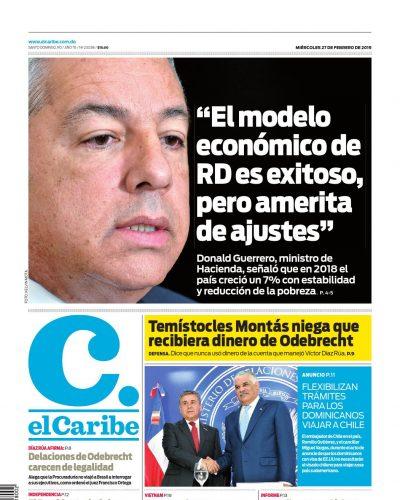 Portada Periódico El Caribe, Miércoles 27 de Febrero 2019