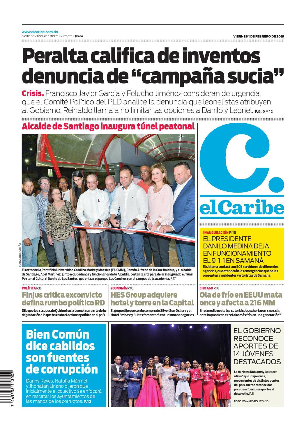 Portada Periódico El Caribe, Viernes 01 de Febrero 2019