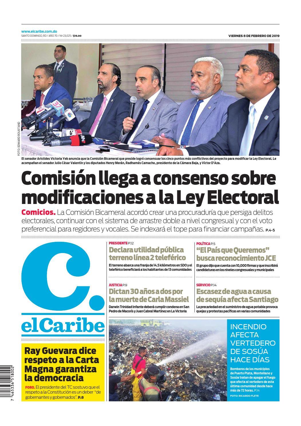 Portada Periódico El Caribe, Viernes 08 de Febrero 2019