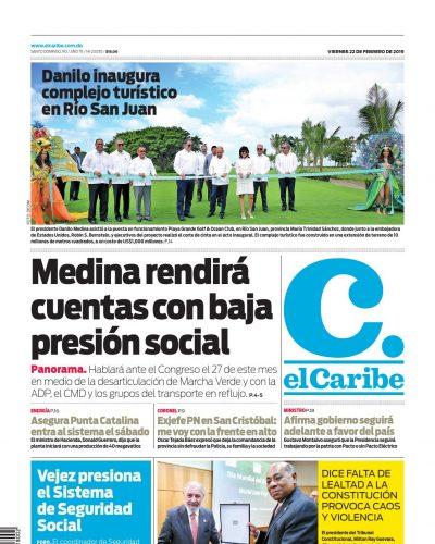 Portada Periódico El Caribe, Viernes 22 de Febrero 2019