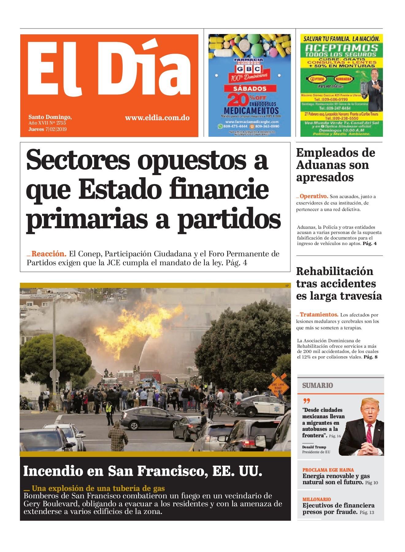 Portada Periódico El Día, Jueves 07 de Febrero 2019
