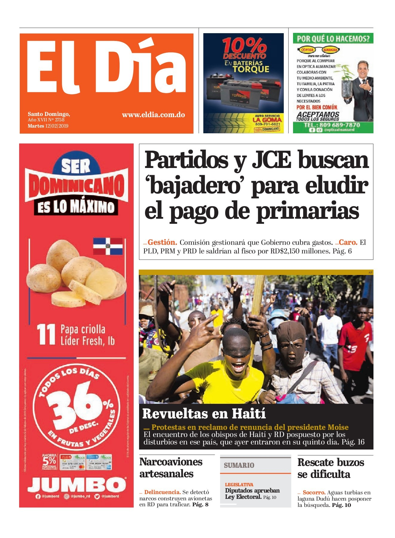 Portada Periódico El Día, Martes 12 de Febrero 2019