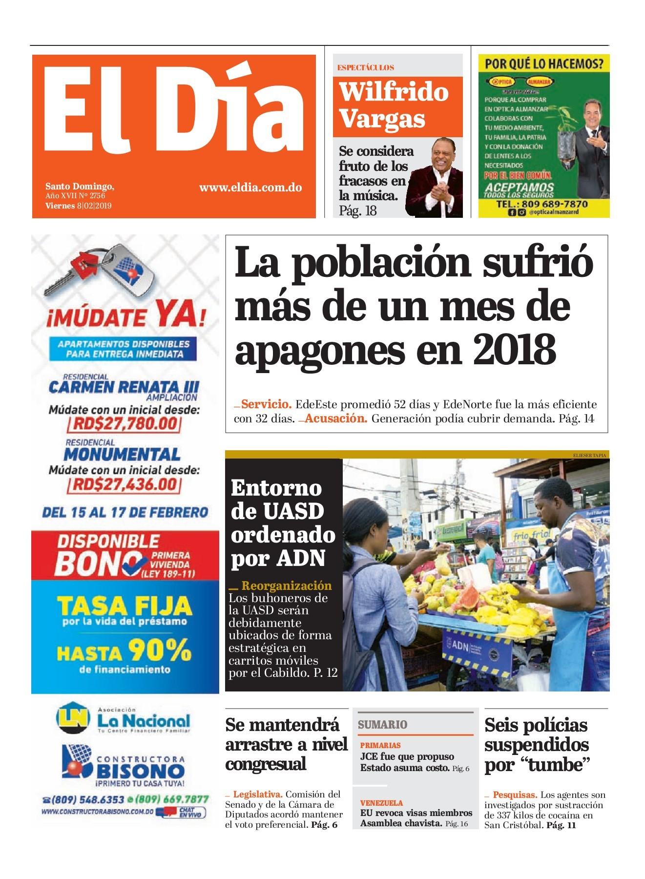 Portada Periódico El Día, Viernes 08 de Febrero 2019