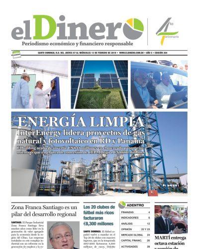 Portada Periódico El Dinero, Jueves 07 de Febrero 2019