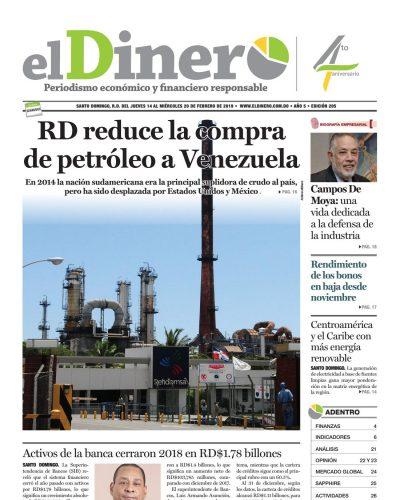 Portada Periódico El Dinero, Jueves 14 de Febrero 2019