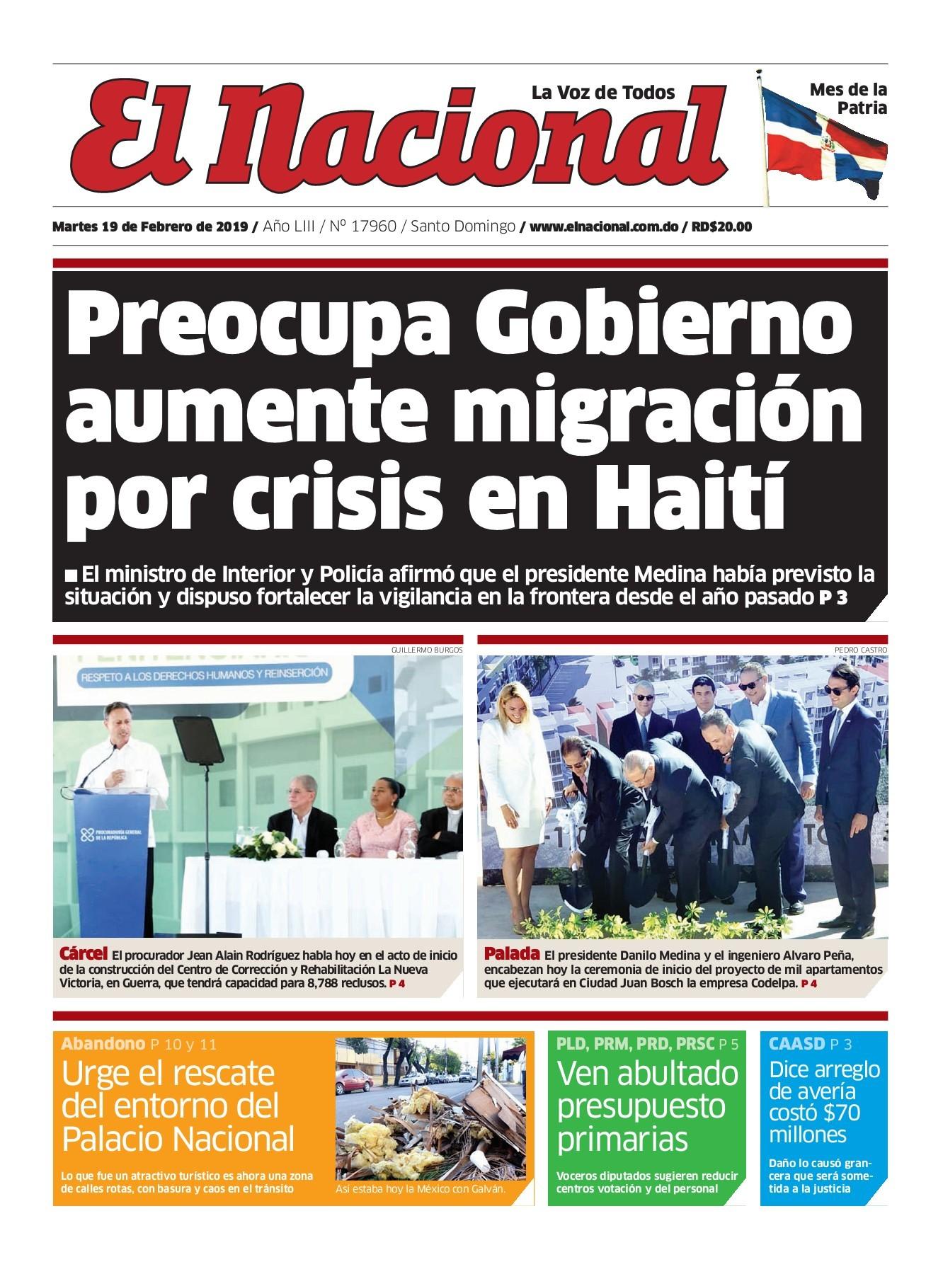 Portada Periodico El Nacional Martes 19 De Febrero 2019 Dominicana Do