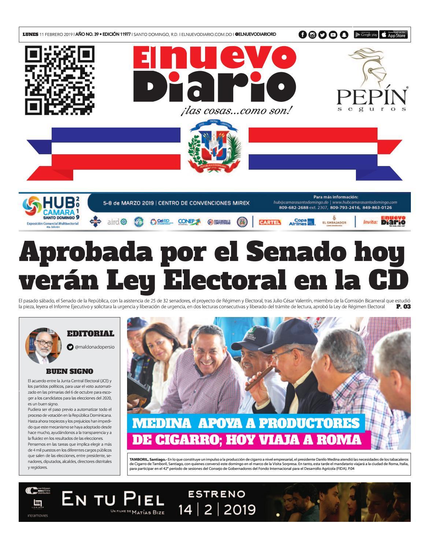 Portada Periódico El Nuevo Diario, Lunes 11 de Febrero 2019