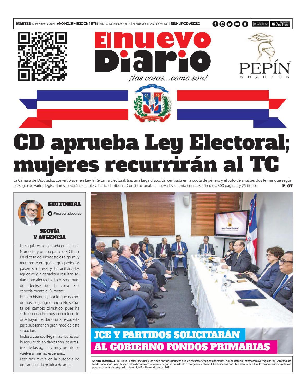 Portada Periódico El Nuevo Diario, Martes 12 de Febrero 2019
