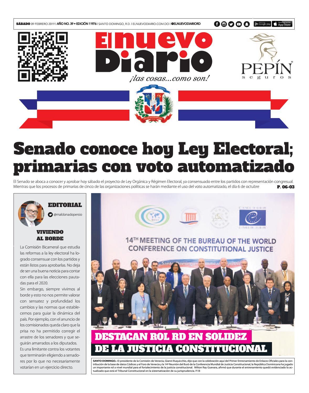 Portada Periódico El Nuevo Diario, Sábado 09 de Febrero 2019