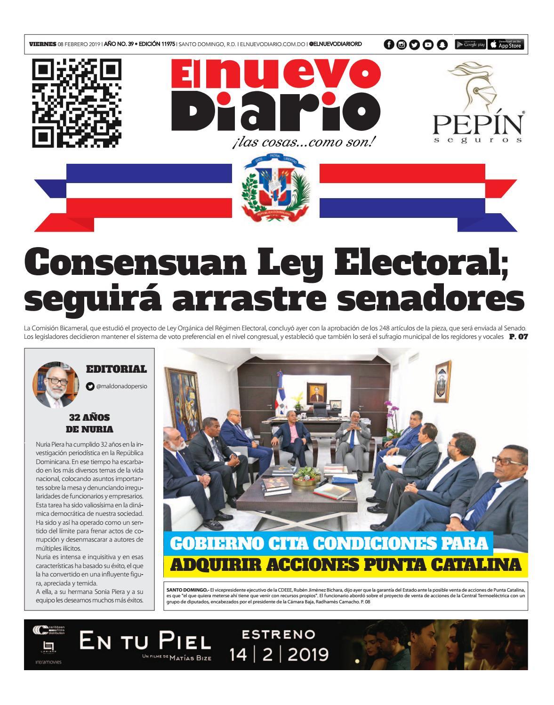 Portada Periódico El Nuevo Diario, Viernes 08 de Febrero 2019