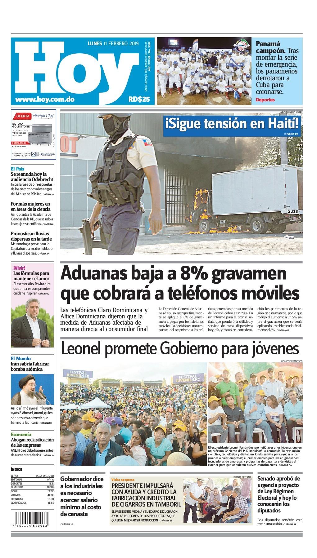 Portada Periódico Hoy, Lunes 11 de Febrero 2019