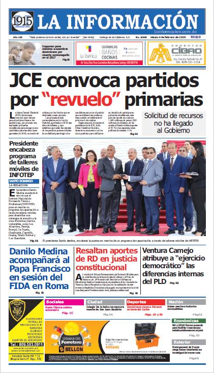 Portada Periódico La Información, Lunes 11 de Febrero 2019