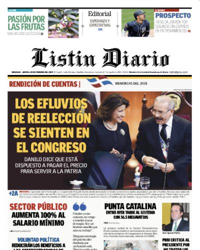 Portada Periódico Listín Diario, Jueves 28 de Febrero 2019