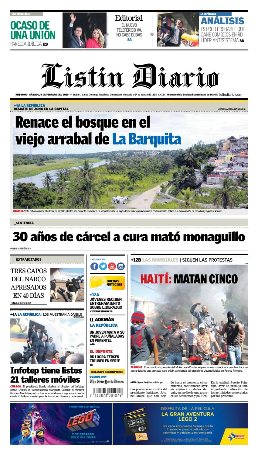 Portada Periódico Listín Diario, Martes 12 de Febrero 2019