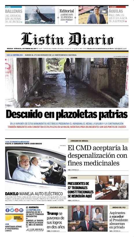 Portada Periódico Listín Diario, Miércoles 06 de Febrero 2019