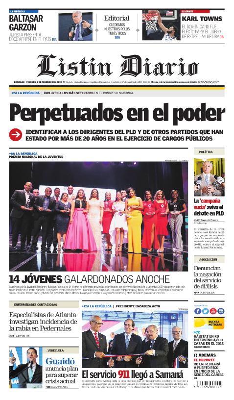 Portada Periódico Listín Diario, Viernes 01 de Febrero 2019