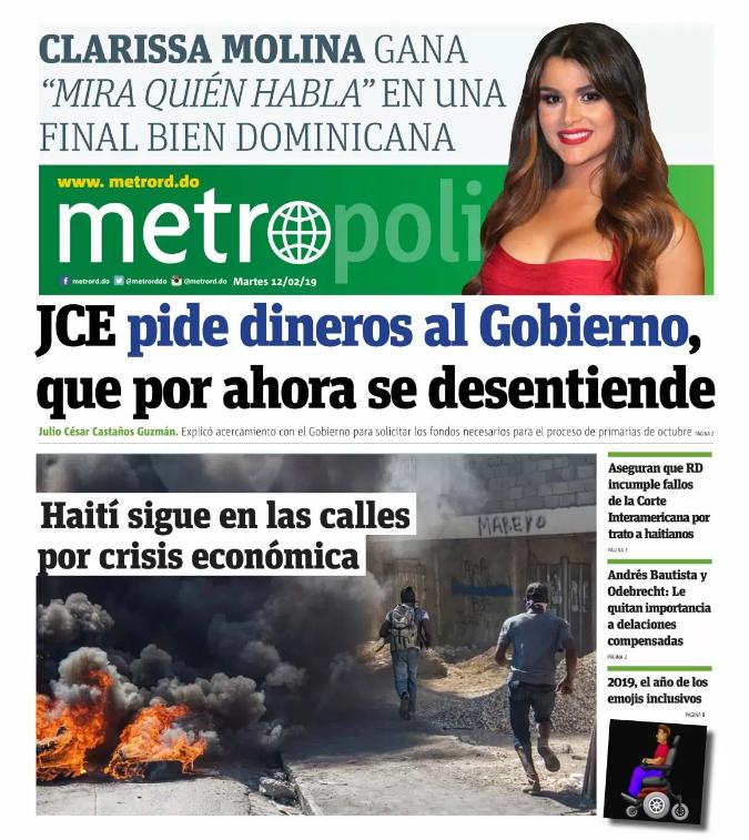 Portada Periódico Metro, Martes 12 de Febrero 2019