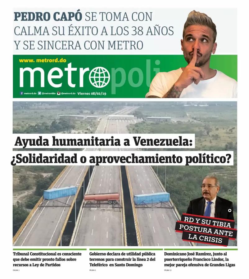 Portada Periódico Metro, Viernes 08 de Febrero 2019