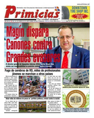 Portada Periódico Primicias, Lunes 04 de Febrero 2019