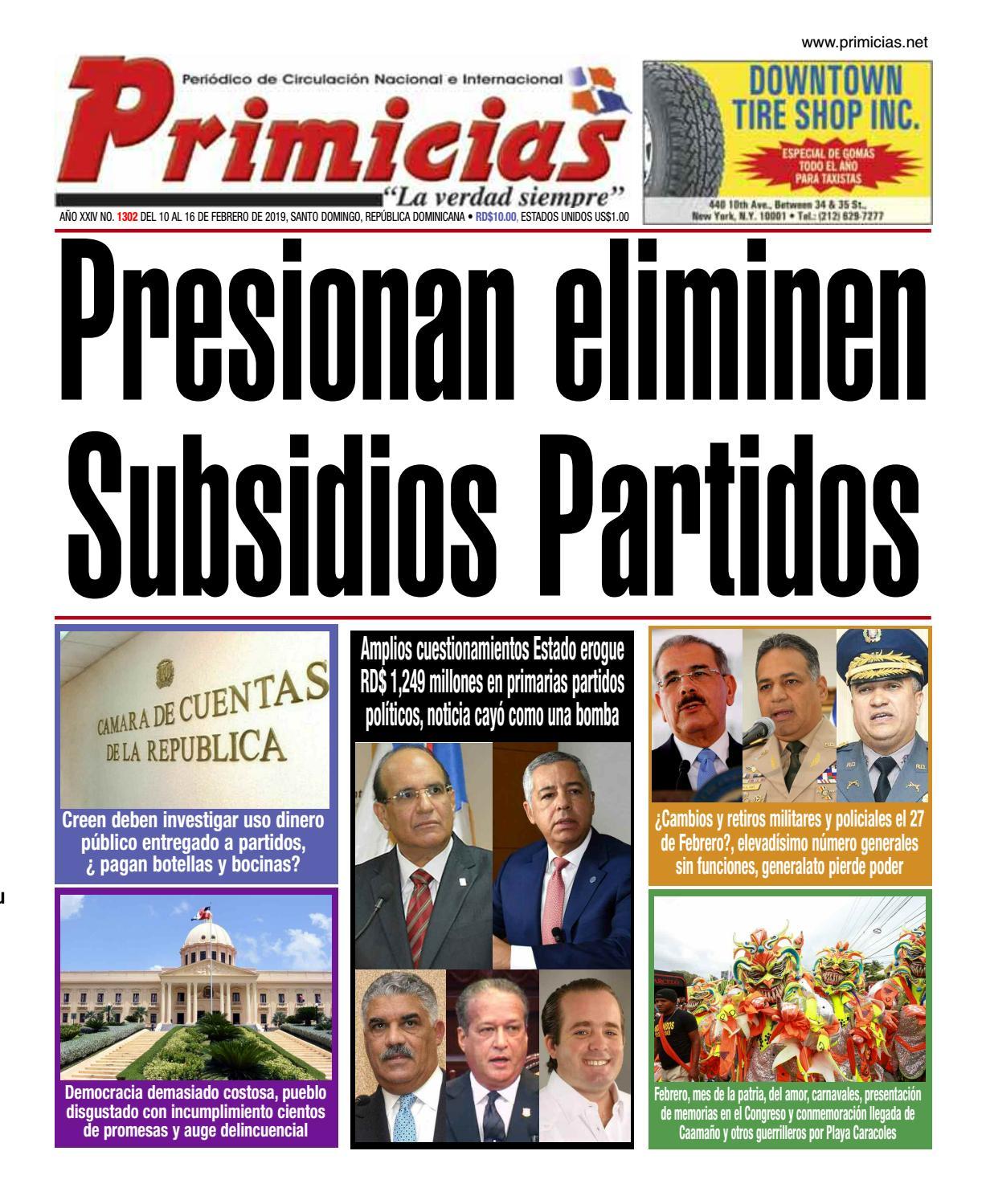 Portada Periódico Primicias, Lunes 11 de Febrero 2019