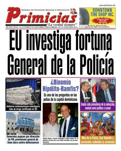 Portada Periódico Primicias, Lunes 18 de Febrero 2019