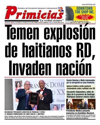Portada Periódico Primicias, Lunes 25 de Febrero 2019