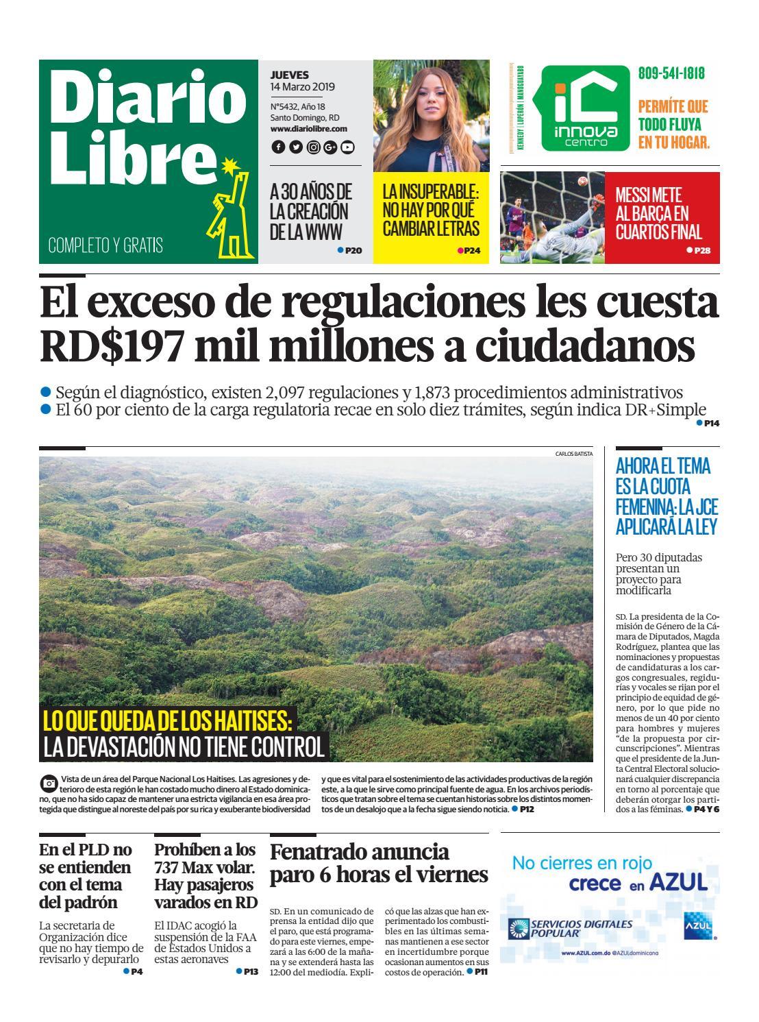 Portada Periódico Diario Libre, Jueves 14 de Marzo 2019